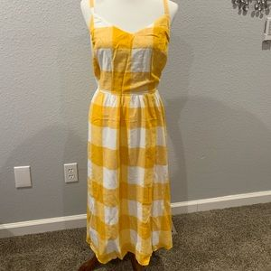 NWOT Old Navy Plaid Yellow midi dress, size XL